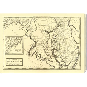 State of Maryland, 1795 by Mathew Carey: 30 x 21.27 Canvas Giclees, Wall Art