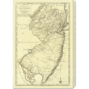 State of New Jersey, 1795 Mathew Carey: 20.3 x 30 Canvas Giclees, Wall Art