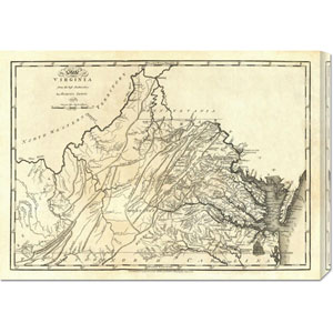 State of Virginia, 1795 by Mathew Carey: 30 x 21.45 Canvas Giclees, Wall Art