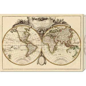 Mappemonde, 1782 by Jean Janvier: 30 x 20 Canvas Giclees, Wall Art