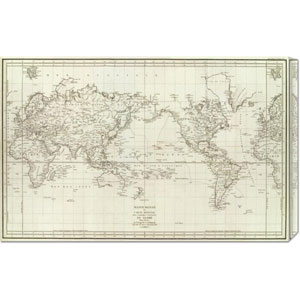 Mappemonde, 1797 by Jean-Francois de Galaup La Perouse: 30 x 19.23 Canvas Giclees, Wall Art