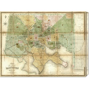Baltimore, Maryland, 1852 by Fielding Lucas: 30 x 22.89 Canvas Giclees, Wall Art