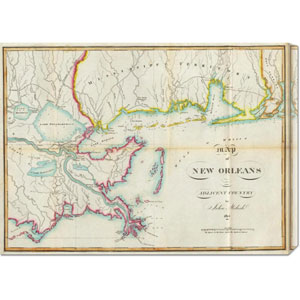 Map of New Orleans and Adjacent Country, 1815 by John Melish: 30 x 22.02 Canvas Giclees, Wall Art