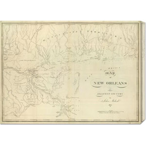 Map of New Orleans and Adjacent Country, 1824 by John Melish: 30 x 22.05 Canvas Giclees, Wall Art