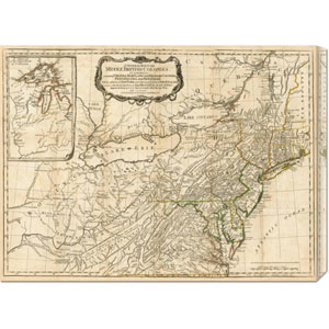 A General Map of the Middle British Colonies, in America, 1776 by Robert Sayer: 30 x 22.35 Canvas Giclees, Wall Art