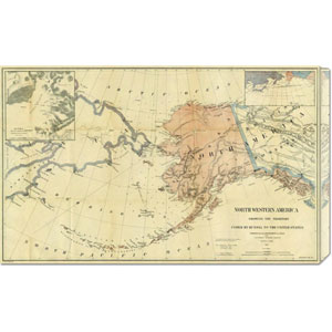 Northwestern America Showing The Territory Ceded By Russia To The United States, 1867 by Charles Sumner: 30 x 18.63 Canvas