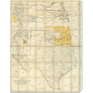 Map of The States of Kansas and Texas and Indian Territory, 1867: 22.5 x 30 Canvas Giclees, Wall Art