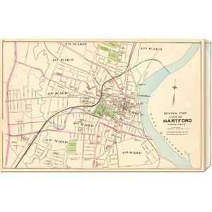 Connecticut: Hartford, Central, 1893: 30 x 19.5 Canvas Giclees, Wall Art