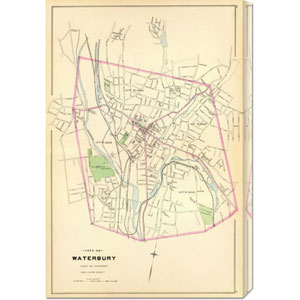 Waterbury, Connecticut, 1893: 19.9 x 30 Canvas Giclees, Wall Art