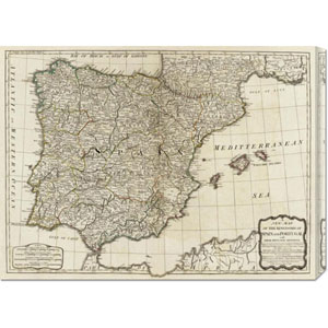 A new map of the Kingdoms of Spain and Portugal, 1790 by Thomas Kitchin: 30 x 22.21 Canvas Giclees, Wall Art