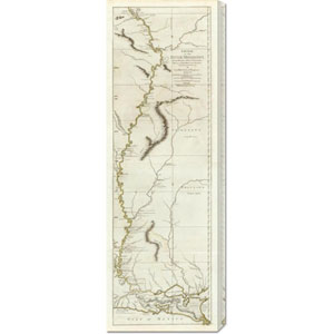 Course of the River Mississipi, from the Balise to Fort Chartres, 1775: 13.4 x 40 Canvas Giclees, Wall Art