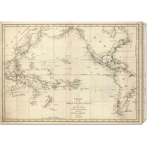 Chart of the Great Pacific Ocean, 1799 by Jean-Francois de Galaup La Perouse: 30 x 21.75 Canvas Giclees, Wall Art