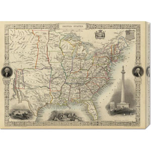 United States, 1851 by R.M. Martin: 30 x 22.2 Canvas Giclees, Wall Art