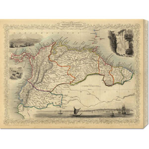 Venezuela, New Granada, Equador, and the Guayanas, 1851 by R.M. Martin: 30 x 22.89 Canvas Giclees, Wall Art