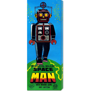 Mechanical Walking Space Man, 20 x 8 Canvas Giclees, Wall Art