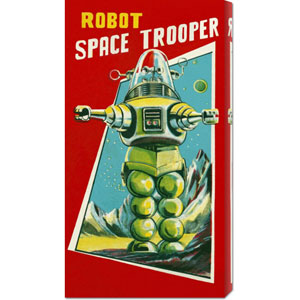 Robot Space Trooper: 24 x 12 Canvas Giclees, Wall Art