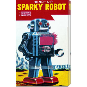 Sparky Robot: 24 x 12 Canvas Giclees, Wall Art