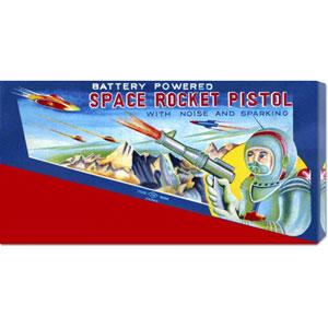 Space Rocket Pistol: 12 x 24 Canvas Giclees, Wall Art