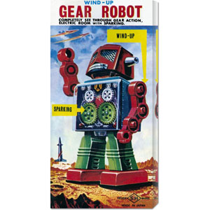 Wind-up Gear Robot: 24 x 12 Canvas Giclees, Wall Art