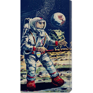 Moon Astronaut: 24 x 12 Canvas Giclees, Wall Art