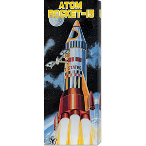 Atom Rocket: 20 x 8 Canvas Giclees, Wall Art