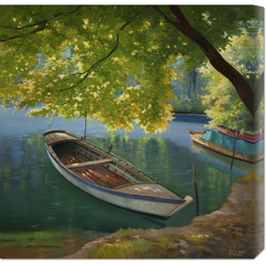 Barca Sul Fiume by Adriano Galasso: 24 x 24 Canvas Giclees, Wall Art