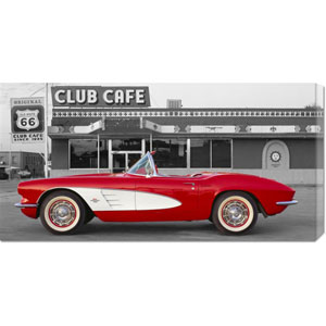 1961 Chevrolet Corvette at Club Cafe on Route 66: 36 x 18 Canvas Giclees, Wall Art