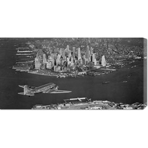 Airplane Flying Towards Manhattan: 36 x 18 Canvas Giclees, Wall Art
