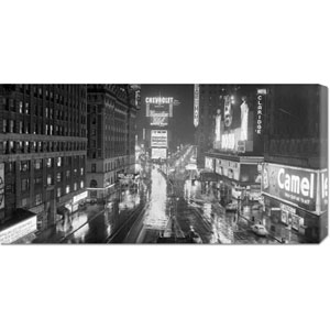 Rainy Night in Times Square: 36 x 18 Canvas Giclees, Wall Art