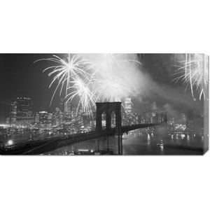 Fireworks over the Brooklyn Bridge: 36 x 18 Canvas Giclees, Wall Art