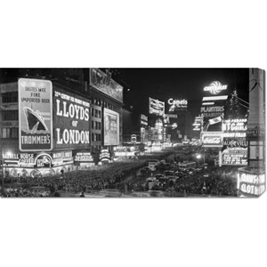 Crowds in Times Square on New Years Eve, 1936: 36 x 18 Canvas Giclees, Wall Art