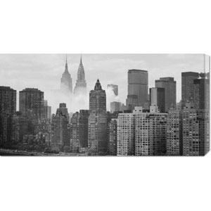 Empire and Chrysler Buildings Behind Skyline: 36 x 18 Canvas Giclees, Wall Art