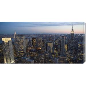 Manhattan at Dusk: 36 x 18 Canvas Giclees, Wall Art