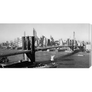Brooklyn Bridge with Manhattan Skyline, 1930s: 36 x 18 Canvas Giclees, Wall Art