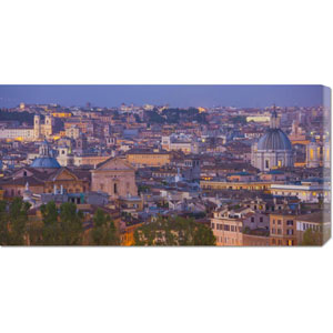 View of the Historic Center of Rome at Night by Miles Ertman: 36 x 18 Canvas Giclees, Wall Art