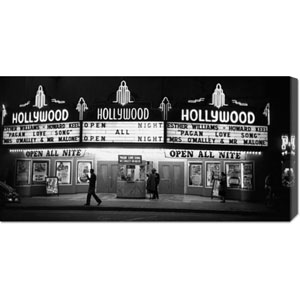All Night Cinema in Hollywood by Kurt Hutton: 36 x 18 Canvas Giclees, Wall Art