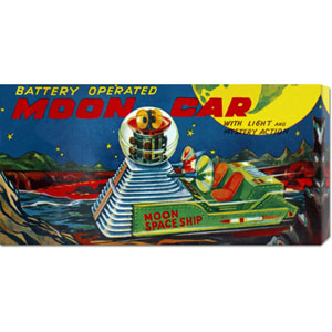 Moon Car: 11 x 22 Canvas Giclees, Wall Art