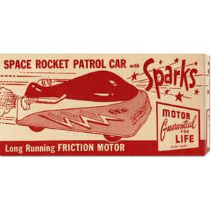 Space Rocket Patrol Car: 11 x 22 Canvas Giclees, Wall Art