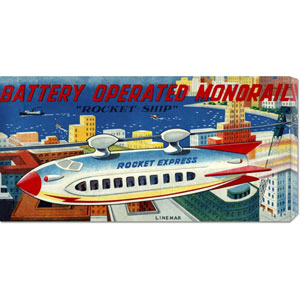 Battery Operated Monorail Rocket Ship: 11 x 22 Canvas Giclees, Wall Art