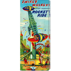 Twirly Whirly Rocket Ride: 22 x 8 Canvas Giclees, Wall Art