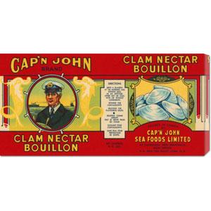 Capn John Brand Clam Nectar Bouillon: 11 x 22 Canvas Giclees, Wall Art