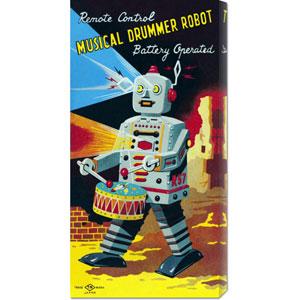Musical Drummer Robot: 22 x 11 Canvas Giclees, Wall Art