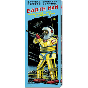 Battery Operated Remote Control Earthman: 22 x 8 Canvas Giclees, Wall Art