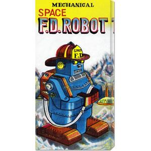 Mechanical Space Fire Department Robot: 22 x 11 Canvas Giclees, Wall Art