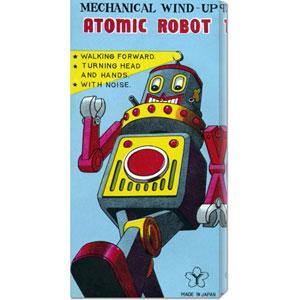 Mechanical Wind-Up Atomic Robot: 22 x 11 Canvas Giclees, Wall Art