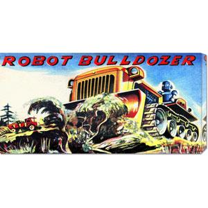 Robot Bulldozer: 11 x 22 Canvas Giclees, Wall Art