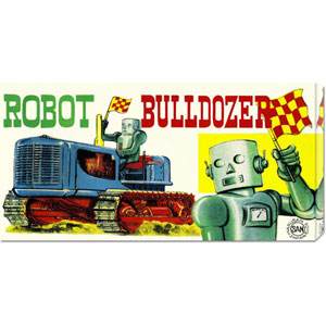 Robot Bulldozer: 11 x 22 Canvas Giclees, Wall Art