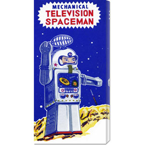 Mechanical Television Spaceman: 22 x 11 Canvas Giclees, Wall Art