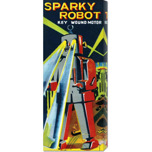 Sparky Robot: 22 x 8 Canvas Giclees, Wall Art