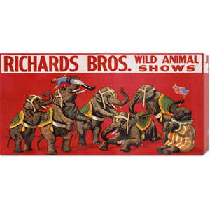 Richards Bros. Wild Animal Shows by Anonymous: 36 x 18 Canvas Giclees, Wall Art